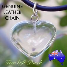 Clear Quartz Crystal Natural Stone Heart Pendant Genuine Leather Necklace Gift