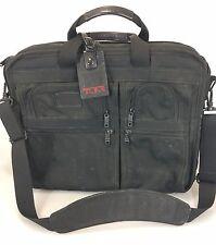 Tumi Black Ballistic Nylon Overnighter Briefcase 2671D3 Strap Luggage Tag