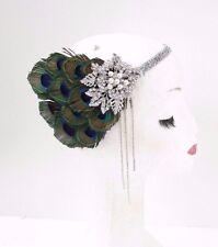 Green Silver Peacock Feather Headband 1920s Flapper Headpiece Great Gatsby 3555