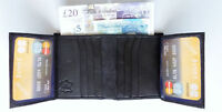 Small compact MiNi Black Leather mens swing wallet 12 card slots clear id window