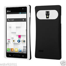 LG Optimus L9 T-Mobile P769 Hybrid Card Wallet Case Skin Cover Black White