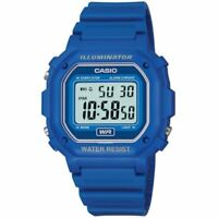 Casio Illuminator Digital Chronograph Blue Resin Strap GentsWatch F-108WH-2AEF
