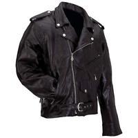 Mens Black Leather Motorcycle Biker Jacket Zip out Liner Size 3XL - 7XL