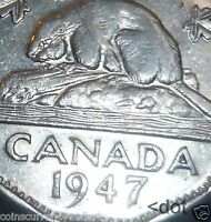 """Canada  - 1947  Five Cents """" 1974 DOT VARIETY """""""