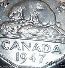 "Canada  - 1947  Five Cents "" 1974 DOT VARIETY """