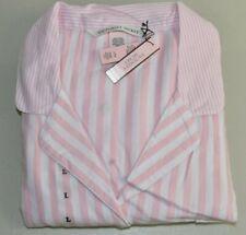 Neu Victoria's Secret Flanell Pyjama Rosa Weiß Gestreift Klassisch S M L