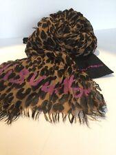 Authentic Louis Vuitton Silk Cashmere Scarf Stole Shawl Leopard Brown
