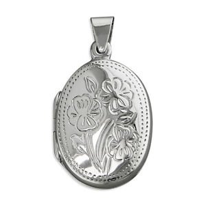 Sterling Silver Oval Locket with engraved flowers