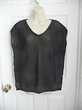 JOAN VASS 0X Top Sweater Black Open Knit V-neck Front Off Shoulder BOHO ARTSY