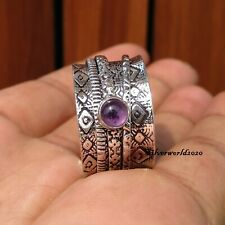 Amethyst Spinner Ring 925 Sterling Silver Plated Ring Handmade Ring Size 10 zz60