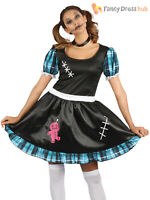 Ladies Voodoo Doll Costume Broken Gothic Creepy Halloween Fancy Dress Outfit