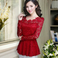 Ladies Lace Slim Fit Peplum Tops Blouse Floral Long Sleeve T Shirt Elegant M-5XL