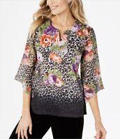 JM Collection Women/'s Floral Print Split-Neck Chiffon Top 3//4 Sleeve Sizes S M