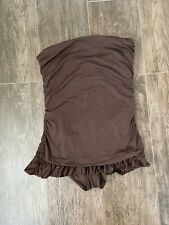 Juicy Couture Beach Royalty Shirred Brown Skirted Ruffle One Piece Size Large