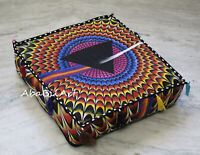 "18X4"" Square Indian 3D Multi Mandala Cushion Cover Floor Decor Pouf Covers Throw"