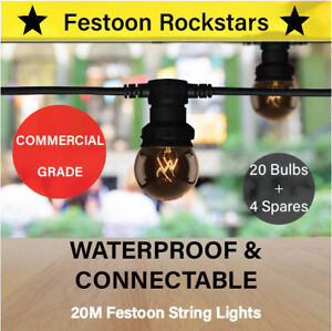 20m Festoon String Lights | Commercial Grade | Permanent Outdoor | Party Cafe