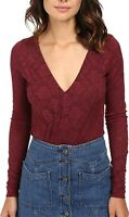 Free People Womens Blouse Wine Red Size Large L Lace Surplice Bodysuit $88 095