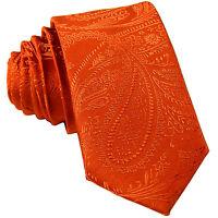 "New Men's Polyester Woven 2.5"" skinny necktie only paisley orange prom formal"