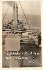 "RPPC Looking aft ""A"" Deck USS MATSONIA Navy Ship WWI c1910s Vintage Postcard"