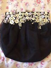 Vintage silbatos Negro Embrague Bag con tul de seda, forro de abalorios & Fucsia