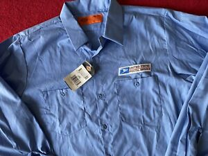 Large Dickies United States Postal Service Button Up Work Shirt With Patch