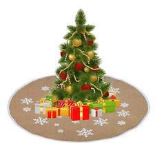 Xmas Burlap Snowflake Print Christmas Tree Skirt Party Ornament Christmas SK