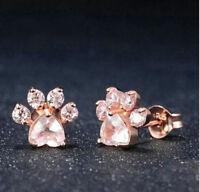 ROSE GOLD PINK CZ CRYSTAL PAW PRINT STUD EARRINGS