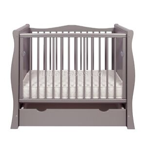 New Tia Mini Cot Grey Small Cot Space Saver Cot with Drawer & Optional Mattress