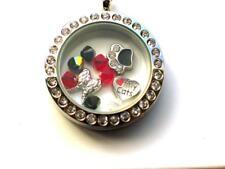 Cat 'Rainbow Bridge' Angel Wings pendant locket with charms & Swarovski beads.