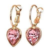 Swarovski Elements Crystal Light Rose Heart Earrings Gold Plated Authentic 7342y