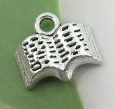 12 Tiny BOOK Charms, Antique Silver Charm Collection, 12x11mm, US Seller