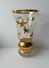 More details for vase mid century atomic star burst 50's bohemian sklo space age clear gold gilt
