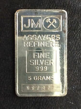 Johnson Matthey 5 Gram Commercial Fractional Silver Bar Ingot A4911