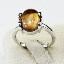 Tiger Eye Gemstone Fashion  Jewelry 925 Silver Men Women Ring Size 10