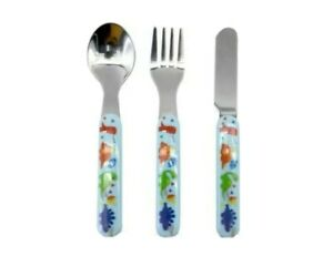 Kids 3pcs Dino Cutlery Set Spoon/Knife/Fork Stainless Steel Toddler Lunch Dinner