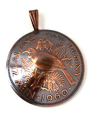 New Zealand One Penny Coin Jewelry,Tui Bird Pendant,Copper Jewelry,Coin Charm