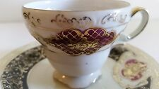 CUP & SAUCER UCAGCO Japan Vintage Hand Painted BURGUNDY WITH GOLD TRIM NICE