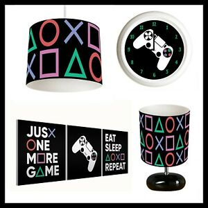 PLAYSTATION GAMING (545) - Boys Bedroom - Lampshade, Lamp, Clock, Canvas Prints