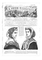 Civil war era MODE ILLUSTREE SEWING PATTERN Jan 5,1863 - Dress, bonnets, shawl