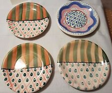 LOT of 4 Ceramic 8.5 inch Dessert Plates, Whimsical Designs