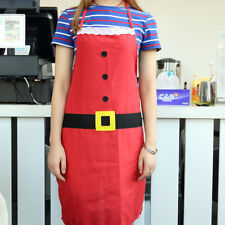 Christmas Decor Santa Apron Adjustable Baking Chefs Kitchen Coffee Cooking Bbq