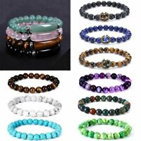 New Tiger Eye Natural Stone Beaded Bracelet Women Men Elasticity Bangle Jewelry