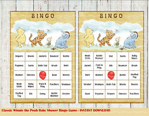 Classic Winnie the Pooh Baby Shower Bingo Game 25 Cards DIGITAL FILE ONLY