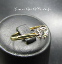 18ct Gold 0.2ct Diamond Solitaire Ring in Illusion Setting Size O 1/2 1.9g