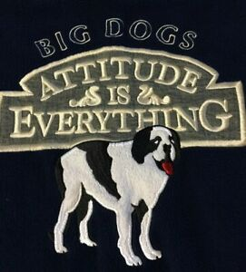 Vtg 90s Big Dogs Attitude Is Everything Fleece Sweatshirt XL Navy Sport USA