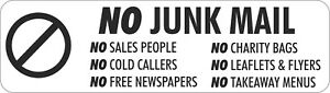 No Junk Mail - No Cold Callers - Front Door Letter Box Sign / Sticker J1417D