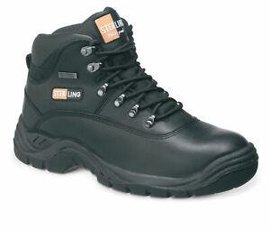 Sterling Black Waterproof Safety Hiker Work Boots Steel Toe & Midsole 3 to 13