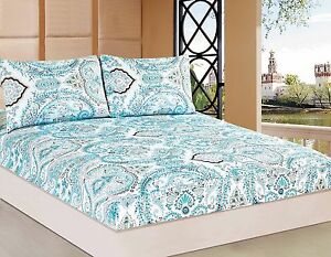 Tache 2-3PC Frozen Forest Light Blue White Boho Paisley Damask Fitted Sheet Only
