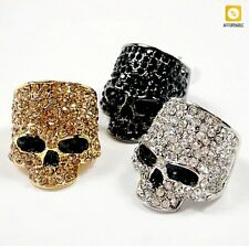 Gold Silver Black Biker Jewelry Fashion Women Skull Rings For Men Rock Punk Rock