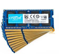 Crucial 10x 8GB 2Rx8 PC3L-12800S DDR3-1600Mhz SODIMM Laptop Memory RAM 204Pin &0